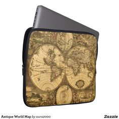 Antique World Map Computer Sleeve