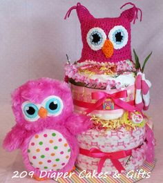 Pink Owl Diaper Cake for Baby Girl - Created by 209 Diaper Cakes & Gifts