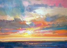 """Daily+Paintworks+-+""""Sunset+For+The+Years+End""""+-+Original+Fine+Art+for+Sale+-+©+Mary+Maxam"""