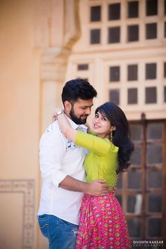 Daytime pre wedding shoot plain green and printed pink skirt   weddingz.in   India's Largest Wedding Company   Wedding Venues, Vendors and Inspiration   Indian Wedding Bridal Jewellery Ideas  