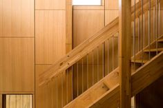 wooden stairs made from raw wood