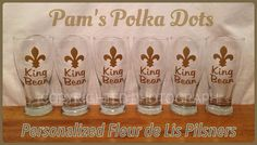 Personalized FLEUR DE LIS Pilsner Glasses with name. Handmade by Pam's Polka Dots.
