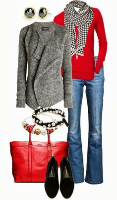Amazing Fall Outfit With Gray Cardigan,Scarf and Bell Bottom Jeans | Fashionista Tribe