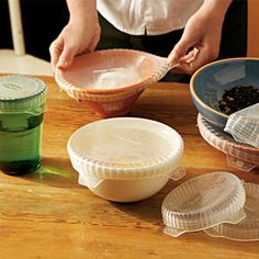 Coverflex - Stretchable and Reusable Silicone Lids They're safe to use in the freezer, refrigerator, microwave, oven and dishwasher and come in a set of four sizes: 3.5, 4.3, 6.3 and 8.3 inches in diameter with an an organic cotton storage bag.