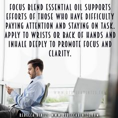 Focus Blend essential oil supports efforts of those who have difficulty paying attention and staying on task. Apply to wrists or back of hands and inhale deeply to promote focus and clarity. #essentialoils