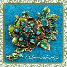 Monet Swarovski Flower Brooch Turquoise /Green OS Magnificent Monet Green/Turquoise Swarovski Crystal Brooch for your classic look especially during the holidays...great for a touch of class every day. Monet Jewelry Brooches