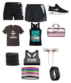 """""""Sports"""" by alicewonderland03 ❤ liked on Polyvore featuring NIKE, Boohoo, Victoria's Secret, Cynthia Rowley and Fitbit"""