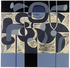 'Blue Land Fantasy' by English artist & printmaker Peter Green Woodcut & stencil, 410 x 430 mm. via St Jude's Prints Modern Art, Contemporary Art, Collages, Deco Paint, Stencil Printing, Art Brut, Flora, Love Painting, Printmaking