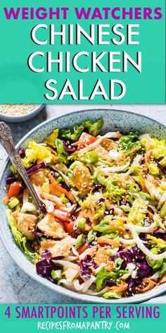 Then this Chinese Chicken Salad topped with a tangy Asian Salad Dressing is just what you need! It has grilled chicken, crunchy vegetables and rice noodles and is ready in less than 10 mins, making it the perfect weeknight dinner. Salade Weight Watchers, Plats Weight Watchers, Weight Watchers Meals, Chicken Salad Recipes, Healthy Salad Recipes, Ww Recipes, Chicken Salads, Recipe For Asian Chicken Salad, Lunch Recipes