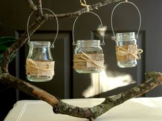 hanging glass european mason jars birch bark outdoor wedding candle flowers vases...For My Woodsy Outdoor Wedding!