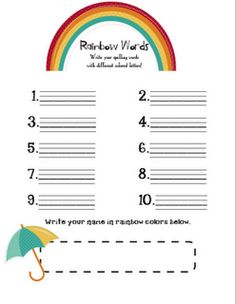 Rainbow letters spelling sheet free for Rainbow writing spelling words template