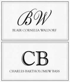 Blair Cornelia Waldorf. Charles Bartholomew Bass. How fancy!