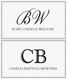 Blair Cornelia Waldorf. Charles Bartholomew Bass. How fancy!