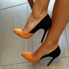 I really like these orange and black heels
