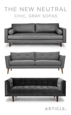 The gray sofa is a decor must-have. It seamlessly blends well with most existing furniture and can be a blendable neutral or a standout centerpiece. Shop more gray sofas at article.com