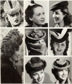 Women's Hats of the 40s, from Matou en Peluche. The dove hat honored the end of World War 2. I remember my Mom had one of those (with a fake dove). I used to play with it when she was busy.