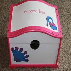 Brigh Magenta Pink and White with a Purple Crown and Slipper Dress Up Trunk, Baby Storage,  Treasure Chest, Toy Trunk, Dress-Up Trunk