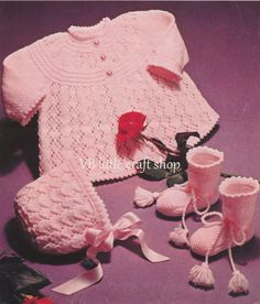 Matinee coat, bonnet and booties knitting pattern. Instant PDF download! by VBlittlecraftshop on Etsy