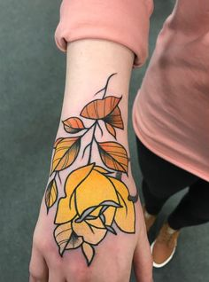 Yellow flower tattoo on hand by Paul Terry @ Forever Ink, Warrington, England Hand Tattoos, Arm Tattoo, Body Art Tattoos, Sleeve Tattoos, Tatoos, Yellow Flower Tattoos, Yellow Tattoo, Rose Tattoos For Women, Tattoos For Guys