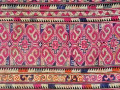 Yao embroidery, cross stitch on indigo dyed cotton. Mien Yao minority, Thailand. Mid-20th century.