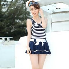 $16.29 Navy Stripe Pattern Scoop Neck Dress Style Pleated One Piece Swimwear For Women