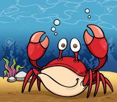 Ilustración vectorial de dibujos animados:  Cangrejo en el fondo del mar.