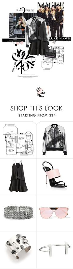 """""""Black cinderela."""" by sa3ina ❤ liked on Polyvore featuring Topshop, Giuseppe Zanotti, GUESS, Karen Walker, Oscar de la Renta, French Connection, lace, allblack, seethrough and popofpink"""