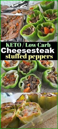 Low Carb Philly Cheesesteak Stuffed Peppers - Hip2Keto