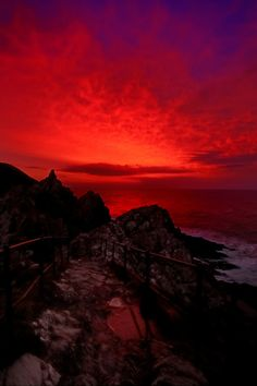 """Fire Over Cornwall"" -- by Flying Fin via flickr. Dramatic red sunset over the sea."