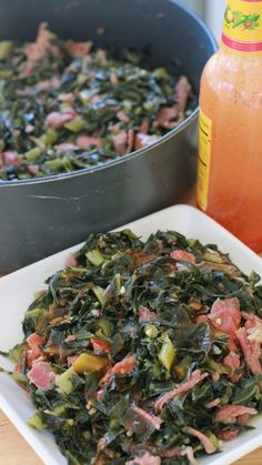 Soul Food Collard Greens by Monique at Divas Can Cook dinner ideas southern soul food Soul Food Collard Greens Recipes Side Dish Recipes, Veggie Recipes, Dinner Recipes, Cooking Recipes, Healthy Recipes, Soul Food Recipes, Chicken Recipes, Soul Food Meals, Dinner Ideas