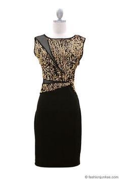 Sequin and Sheer Mesh Backless Starburst Mini Dress-Gold & Black - PEFECT NEW YEARS EVE DRESS #NYE
