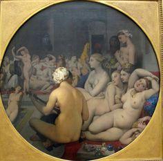 JEAN-AUGUSTE INGRES (1780-1867) Questa famosa composizione di Ingres  ispiratagli senza dubbio dalla descrizione di un harem nelle lettere di Lady Montague, era in origine quadrata ed era di proprietà del principe Napoleone.  Sotto le insistenze della moglie , che giudicava il quadro sconvolgente per i troppi nudi che vi erano riprodotti, nell'aprile  1860 Napoleone restituì il dipinto ad Igres che lo tenne nel suo atelier fino al 1863, lavorandovi continuamente ed apportandovi alcune…