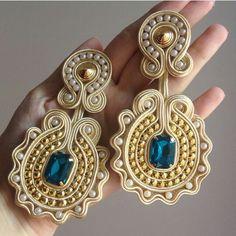 Diy Jewelry, Beaded Jewelry, Jewelery, Bead Embroidery Jewelry, Beaded Embroidery, Soutache Earrings, Diy Accessories, Polymer Clay Earrings, Printing On Fabric