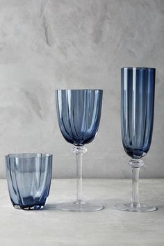Scallop Blue Glassware Dulux Denim Drift, Dining Room Blue, Brass Bed, Floral Shower Curtains, Cool Glasses, Home Deco, Wine Glass, Dinnerware, Interiors