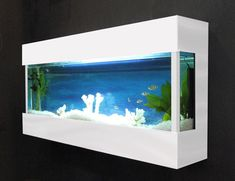 Nowadays people often use not a stand or a table but wall mounted aquarium. Fish Tank Wall, Glass Fish Tanks, Cool Fish Tanks, Wall Aquarium, Aquarium Design, Saltwater Aquarium, Aquarium Ideas, Tanked Aquariums, Fish Aquariums