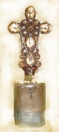 Urban Rosary Altered Bottle by Cathleen Leveque - love the cross in the bottle