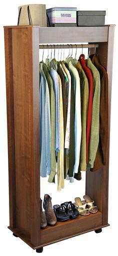 Mighty Closet Portable Wardrobe W Shelves In Dark Walnut Finish
