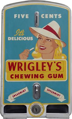 Wrigley's Gum Dispencer / Vintage Vending Machine / Retro
