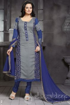 http://www.mangaldeep.co.in/salwar-kameez/touching-grey-and-blue-unstitched-party-wear-salwar-kameez-4853 For further inquiry whatsapp or call at +919377222211