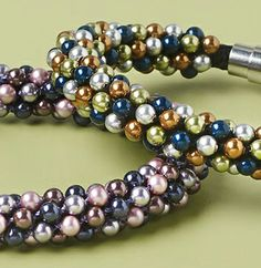 """Bubbly bangle"" pearl kumihimo project by Monica Han in the March 2014 issue of Bead Style. beadstylemag.com"