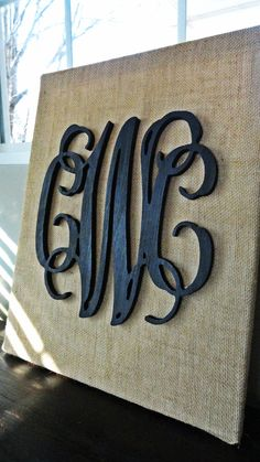 Black Painted Wooden Script Monogram on Burlap Canvas, Black Vine Monogram, 3 Letter Monogram, Monogram on Burlap, Monogram Decor on Etsy, $65.00