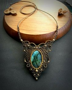 Labradorite macrame necklace. Bohemian by EarthBoundMacrame