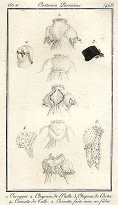 Illustration, 1802. Different back styles and head wear.