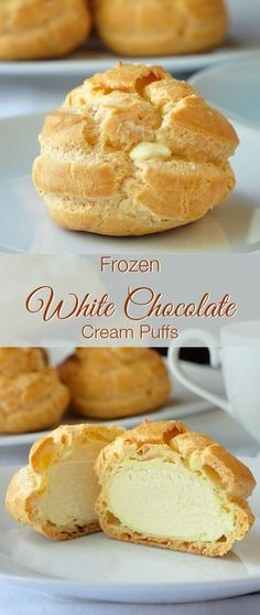 These white chocolate cream puffs are ideal to have on hand for last minute dessert when needed. The filling freezes to a silky white chocolate ice cream. A terrific make-ahead dessert for holidays li (Chocolate Cream Thanksgiving) Desserts Français, Make Ahead Desserts, Frozen Desserts, Delicious Desserts, Dessert Recipes, Yummy Food, Plated Desserts, French Desserts, Recipes Dinner