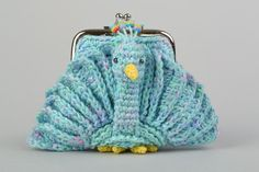 Handmade crocheted blue wallet Firebird soft for children