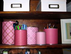 cute and cheap storage ideas. Scrapbook paper over cans