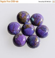 6MM Round Shape, Purple Copper Turquoise Calibrated Cabochons Ag-237