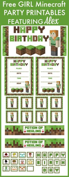 Does your daughter love Minecraft? How about using our GIRL Alex Minecraft Free Printables to decorate your girl birthday party! See more Minecraft party ideas at CatchMyParty.com.