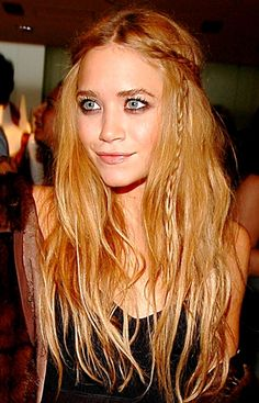 boho half-up hair with mini braids via mary-kate olsen