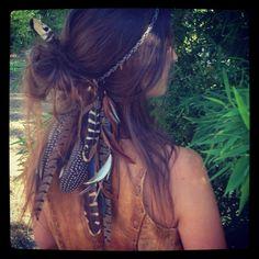 Headband/Hatband // Double strand feathers and organic hemp, tribal, hippie, boho, bohemian, native american. $56.00, via Etsy.
